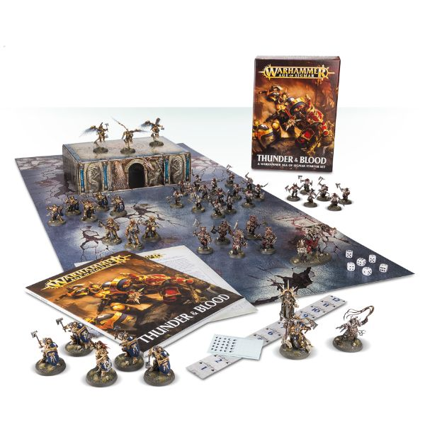 A picture of the Age of Sigmar starter set 'Thunder and Blood'