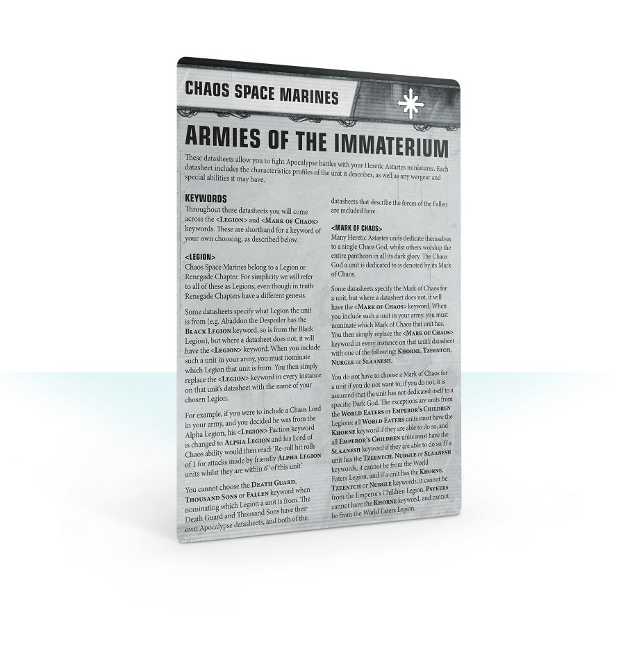 Apocalypse Datasheet Cards: Chaos Space Marines | Games Workshop